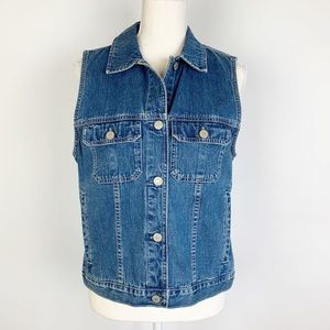 Eddie Bauer Vest S Blue Denim Snaps 100% Cotton